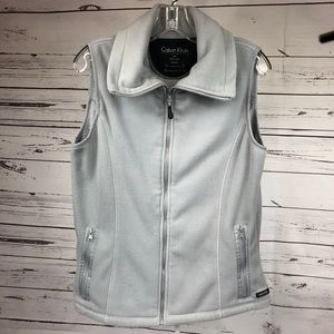 Calvin Klein Grey Zip Up Fleece Vest Size Large